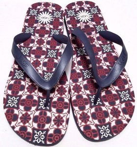 UGG Australia Rubber Upper Rubber Footbed Mosaic Printed Thong Toe Blue/Red Sandals