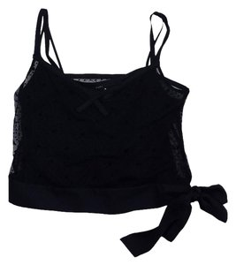 Marc Jacobs Black Dotted Mesh Crop Top