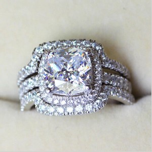 All Sizes 4 5 6 7 8 9 Diamond Lab 4 Carat Engagement Wedding Band Cushion Cut Square Pt950 Certified