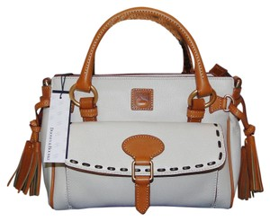 Dooney & Bourke Florentine Leather Tassels Lined Satchel in White