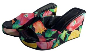Donald J. Pliner Slide Multi-color Leather Black Yellow Pink Green Wedges