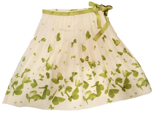 Item - Off White Green and Black Silk Skirt Size 8 (M, 29, 30)