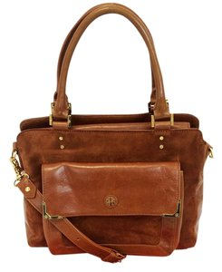 Tory Burch Mae Suede Leather Satchel in Chestnut