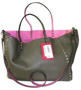 Valentino Tote in Olive Green/Pink