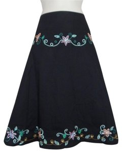 Lapis Embroidered Sequin Beaded Skirt Black
