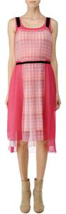 Rag & Bone short dress Pink, White, Black Checkered Pleated Chiffon on Tradesy