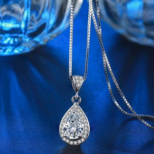9.2.5 Diamond Jewelry 2ct Pear Shape Wedding Pendant Necklace Chain Crusual Silver