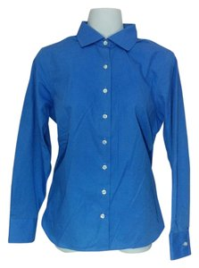 Lands' End Wrinkle Free Button Down Button Down Shirt Blue