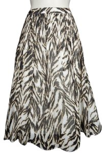 Talbots Animal Print Pleated Skirt White Black Brown