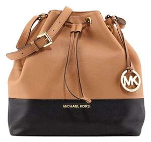 Michael Kors Color Blocked Pebbled Leather Bucket Drawstring Gold Shoulder Bag