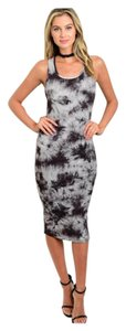 Black Tye Dye Maxi Dress by Other Racerback Bodycon Stretchy Slimming