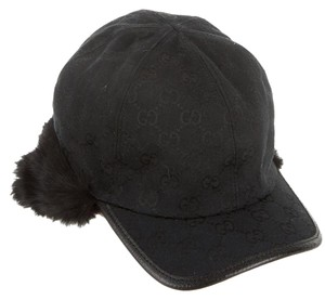 Gucci Black canvas Gucci Guccissima monogram fur trimmed winted fall hat
