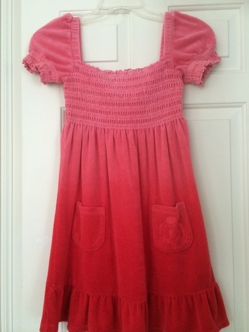 Item - Pink-red Ombre Smocked Terry Dress/Coverup Cover-up/Sarong Size 4 (S)