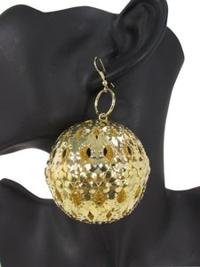 New Women Earrings Disco Balls Hip Hop Fashion Set Hook Dangle Gold Metal