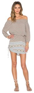 Faithfull the Brand short dress Haute Bohemian (pink/peach + green) on Tradesy