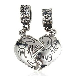 9.2.5 Heart Break Split 925 Vtg Charm Split Mother Daughter For Bracelects 925