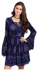 short dress Navy Bohemian Bell Sleeve Lace Up on Tradesy