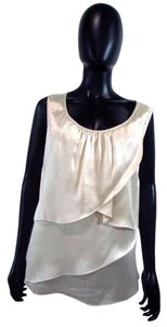 Talbots Sleeveless Tiered Silk Top Ivory