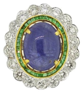 Vintage 18K Gold 1.0Ct Emerald 3.8Ct Diamond Sapphire Ring Size 7