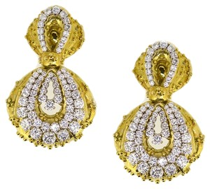 Antique 18K Yellow Gold 16Ct Diamonds Clip On Earrings 62.2 Grams