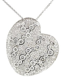 Other 18K White Gold 12.0Ct Diamond Heart Pendant Necklace 28.1 Grams 21