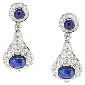 18K White Gold 2.21Ct Diamonds 3.0Ct Sapphire Dangle Earrings