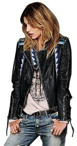 April, May Leather Motorcycle Distressed Black with blue and white embroidery Leather Jacket