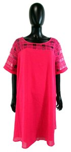 Love Drobe short dress Pink Short Sleeve Knee Length Shift Checkered Sheer on Tradesy