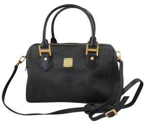 MCM Speedy Hand Strap Cross Body Penny Lane Satchel in Black