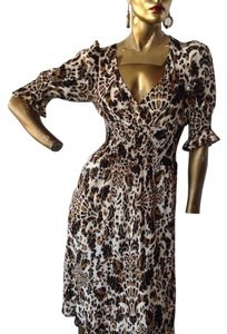 Black,Creme,Toffee Maxi Dress by Diane von Furstenberg Silk Short Fit And Flare Designer Brown White