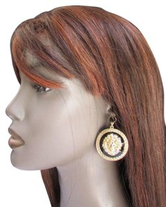 New Women Earrings Round Lion Face Head Circles Fashion Gold Black Metal