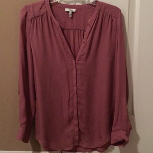 Joie V-neck Buttons Silk Top Pink