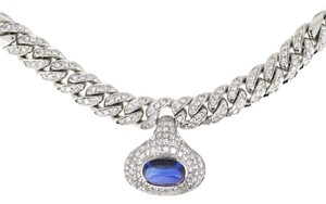 Other 18K White Gold 7.03 Ct Sapphire 4.16Ct Diamond Choker Necklace 14