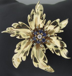 Tiffany & Co. Tiffany & Co. Vintage Estate Gold, Sapphire Diamond Brooch Pin 14K