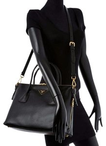 Prada Large Tote Leather Satchel in Black
