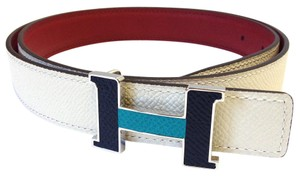 Herms Hermes #7875 24 Mm Bicolor Black blue leather inlaid Silver Polished Constance H Belt Size 80 Bracelet leather Reversible Belt white grey shade on red