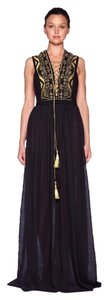 Maxi Dress by Bec & Bridge Metallic Gold Lace Up Embroidered Mesh