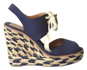 Tory Burch Tie Up Espadrille Blue Wedges