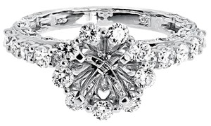 Other 14k White Gold Round Diamond Floral Semi Mount Engagement Wedding Ring 1.71 ct