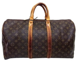 Louis Vuitton Keepall Duffle Weekender Brown Travel Bag
