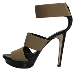 Fendi Beige Strappy Platform Black Platforms