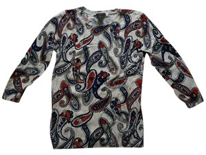 Ann Taylor Paisley 3/4 Sleeve Pullover Sweater
