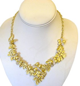 Other Roberto by RFM Crystal Goldtone Leaf Design Necklace