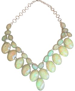 Handmade One-of-a-Kind Dichroic Glass Silver Statement Necklace