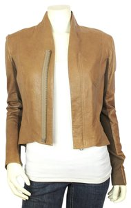 VEDA Leather Zipper Tan Leather Jacket