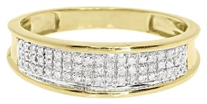 10k Yellow Gold Mens 6mm Pave Round Diamond Wedding Fashion Band Ring 0.25 ct