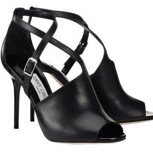 Jimmy Choo Leigh Crisscross Strap Black Sandals