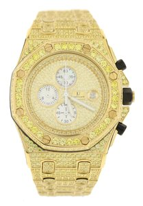 Jewelry Unlimited Iced Out Stainless Steel Canary Simulated Diamond Watch