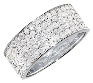 10k White Gold Ladies Mens Pave Diamond 8mm Wedding Engagement Band Ring 1.0 Ct