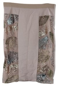 BCBGMAXAZRIA Aideen Sequined Pencil Skirt DARK BARE PINK